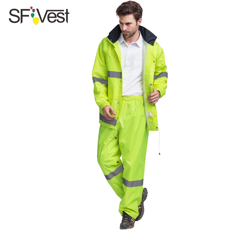 SFVest mens waterproof reflective 150D Oxford rainsuit with conceale hood  jacket and trouser yellow lime green free post<br>