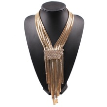 2017 New Latest Cheap Dress Accessories Fashion Chain Necklace Crystal Collar Long Necklaces Chunky Statement Luxury Jewelry