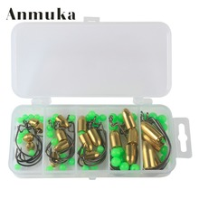 Anmuka Crank Hook Texas Copper Bullet Sinker Bead Luminous Lure A B C Suit Fishing Accessories Box Combo Set Fishing Tackle(China)