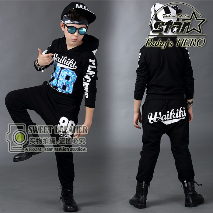 New Fashion Childrens Jazz Dance Costume Boys Girls Hip-hop Costume Boys Tracksuit Summer Sport Suit Stage Performance Costume <br>