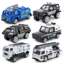 Hot 1:87 scale wheel diecast city super policeman Vehicle swat police armor car ladder truck metal model Collection for kid toys(China)