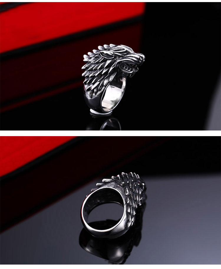 แหวนผู้ชายเท่ห์ๆ Code 042 แหวนหมาป่า สแตนเลส แกะลายคมๆสวยๆ12