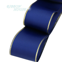 (10 yards/lot) Gold Edge Dark Blue Grosgrain Ribbon Wholesale Gift Wrapping Christmas ribbons(China)