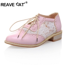 NEW Spring summer Women's shoes Ladies flats Oxfords Lace up Patchwork Lace Flower Fashion Sweet Beige Pink White Black PL464