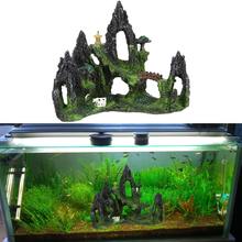 Restin Artificial Mountain View Aquarium Tree House Cave Bridge Fish Tank Ornament Fish Pet Supplies Aquarium Decoration