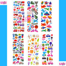 6 Sheets Transportation Vacation Sports Play Games Cute Car Bus Scrapbooking Bubble Stickers Emoji Reward Kids Toy Factory Sales