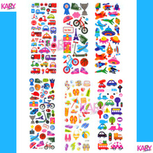 6 Sheets Transportation Vacation Sports Play Games Cute Car Bus Scrapbooking Bubble Stickers Emoji Reward Kids Toy Factory Sales(China)