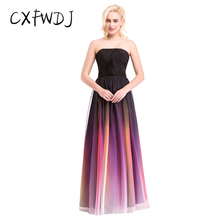 New Colorful Gradient Chiffon Strapless Sexy Open Back Bandage Decoration Dinner Women's Clothing Long Evening Wear Dresses(China)