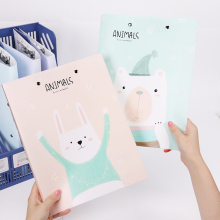 1PC Korean Cute Animals Rabbit A4 Big Capacity Document Business Storage File Folder for Papers Stationery Student Gift