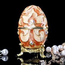 H&D Lady's Gifts Easter Metal Crafts Embroidery Russian Egg Jewelry Trinket Box Wedding Jewelry Display Case Home Decor(China)