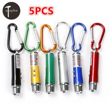 5PCS 3 in 1 Mini Laser Pen Pointer LED Flashlight UV Torch Light With Keychain Working Camping Pocket LED Pen(China)