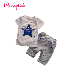 New Hot Baby Girls Clothing Set Summer Boys 2017 Clothes Star Pattern Toddler Boys T-Shirts+Pant Children Kids Clothes for 1-4 Y