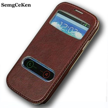 Buy SemgCeKen luxury original leather case samsung galaxy s3 s 3 i9300 pu holster view flip window retro cell phone cover coque for $3.98 in AliExpress store