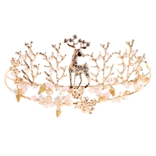 Vintage Golden Deer Bride Crown Hairband Headdress Rhinestone Tiara Hair Accessories(China)