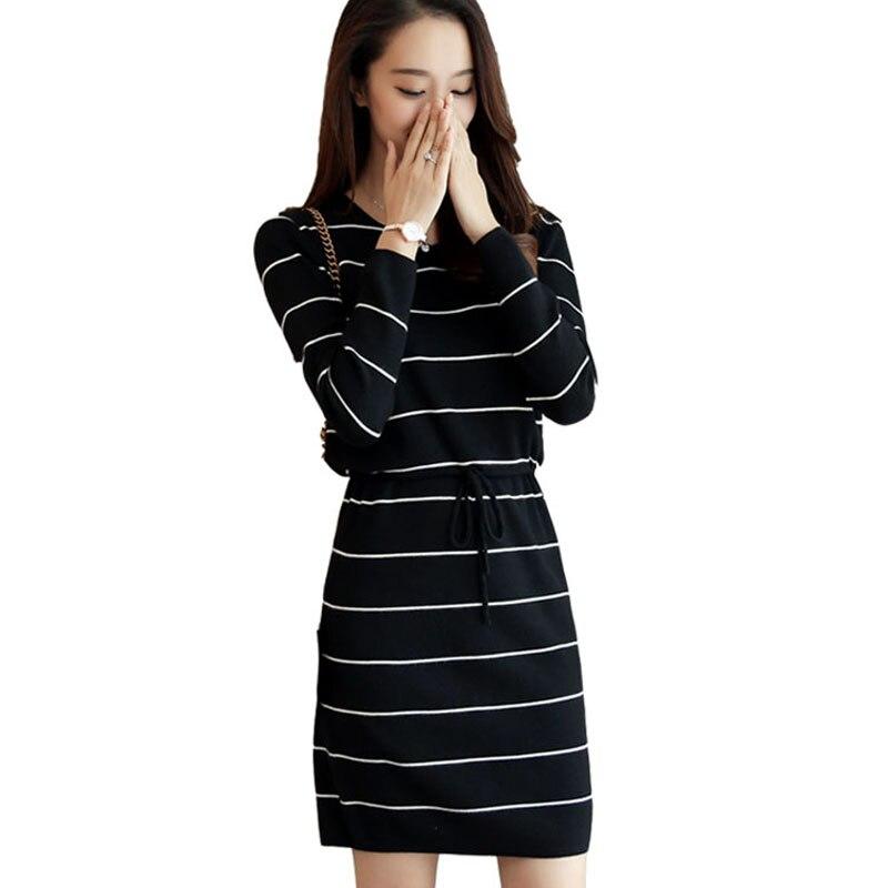Women dress knitted 2018 autumn and winter long-sleeve female straight medium-long basic loose sweater dress teenage girlÎäåæäà è àêñåññóàðû<br><br>