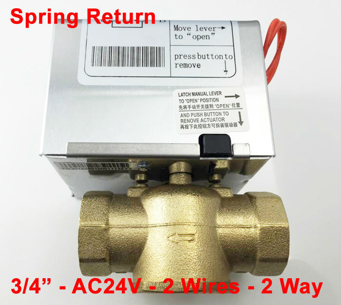 3/4 (DN20) Electric motor valve 24VAC, 2way Electric ball valve with spring return function for fan coil<br><br>Aliexpress
