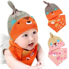 Spring Infant Hat Autumn Caps Colorful Cute Fashion Cubs Pattern Baby Hat Caps Hat Bibs Suit  lowest  price