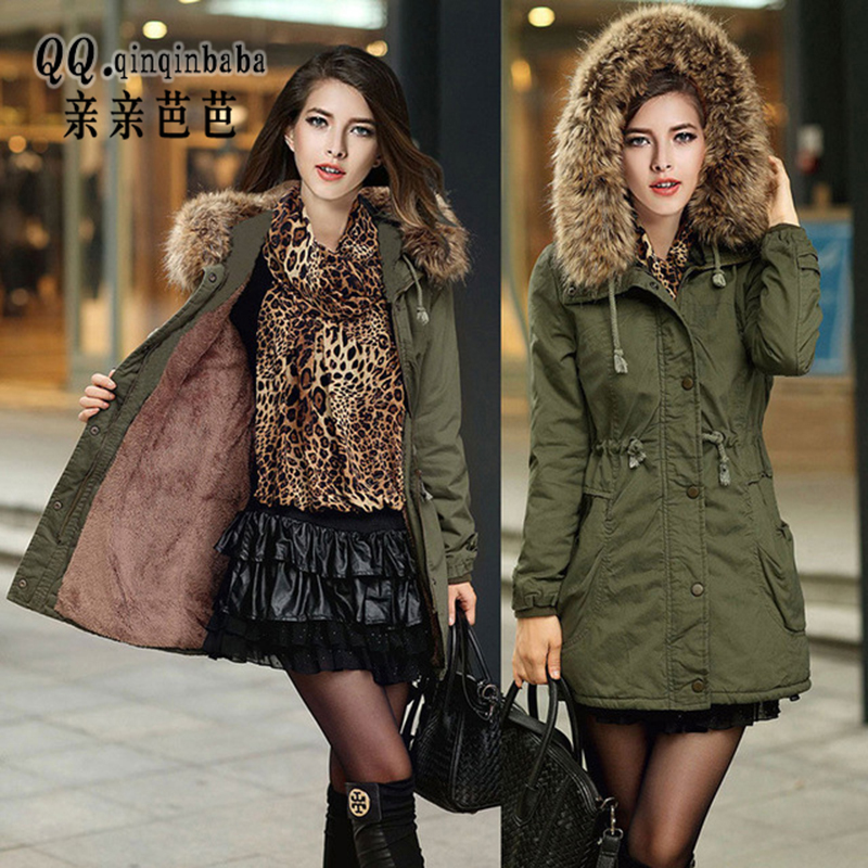 Winter Coats Women Jackets Real Large Raccoon Fur Collar Thick Ladies Down &amp; Parkas Army Green Push Up Size S-2xl Jacket WomenОдежда и ак�е��уары<br><br><br>Aliexpress