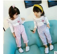Spring and summer new children's clothing factory direct Korean fashion lace collar cotton long-sleeved strap pants girl suit