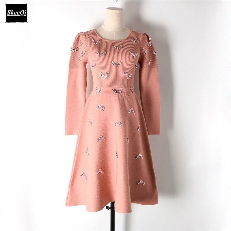 2018 New Slim Basic Knitted Sweater Dresses Women Pleated Ruffles Beading Knit Puff Sleeve Casual Dress Autumn Knitwear VestidosÎäåæäà è àêñåññóàðû<br><br>