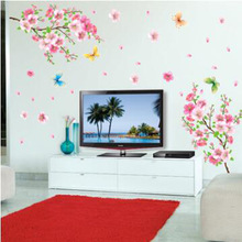 Large Size 50*70cm Peach Blossom Tree Wall Stickers Green Big Tree Butterfly Heart Shape Sticker Home Decor Tree Decal on Wall
