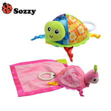 Wholesale! 10 pcs Sozzy Baby Rattle Toys Sozzy Little Turtle Plush Toys Infant Appease Towels Doll Comfort towel