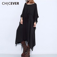 CHICEVER 2018 Spring Batwing Sleeve Women Dress Black Tassel Long Sleeve Loose Big Size Dresses Female Clothes Fashion Casual(China)