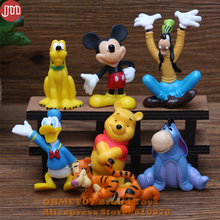 New 7PCS Mickey Minnie Mouse Figures Donald Duck Goofy Dog 5cm Clubhouse Anime Cartoon Kids Toys Free Tracking