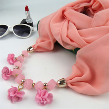 Multicolor Solid Cotton cloth flower necklace Scarves turban jewelry Ethnic Women Bead Shawl diamond Resin Pendant Collar Scarf(China)