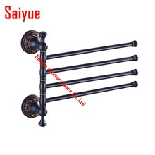 Solid Brass Vintage Style Bathroom Revolve Towel Bar Antique black three Four Tiers Bath Towel Holder Rack Wall Mounted(China)