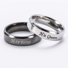 "Sale 1Pc ""King""/""Queen"" Crown Stainless Steel High Quality Love Promise Fashion Ring Simple Unisex Couple Rings Charm Gift(China)"