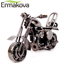 "ERMAKOVA 14cm(5.5"")Vintage Motorcycle Model Retro Motor Figurine Iron Motorbike Prop Handmade Boy Gift Kid Toy Home Office Decor(China)"