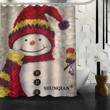 snowman painting Shower Curtain New arrival product Personalized Custom Fabric Bath Screens(China)