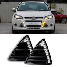 For Ford Focus 2012-2014 2pcs LED DRL Daytime Running Lights with Yellow Turning Signal
