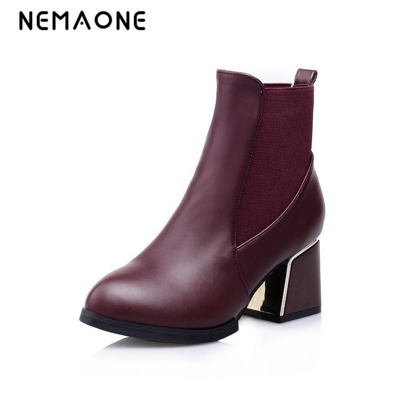 Fashion Women Boots Fashion Ankle Boots High Heeled Shoes Thick Heel Platform Motorcycle Wedding Snow Size 34-43<br>
