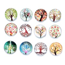 12pcs/lot Multi Options Life Tree Pattern Charms 18mm Glass Snap Button For DIY Charms Bracelet 18mm Snaps Jewelry KZ0153-KZ0161
