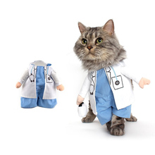 Funny Cat Costume Doctor Suit Pet Dogs Clothes Uniform Clothing for Puppy Dogs Yorkieshire Chihuahua Business Outfit 35(China)