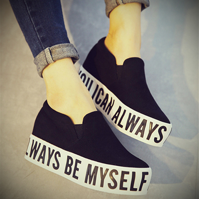 letter platform cotton-made shoes canvas shoes casual pedal shoes lazy shoes black thickness bottom<br><br>Aliexpress