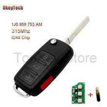 OkeyTech 4 Buttons 315Mhz Flip Uncut Remote Control for Volkswagen VW Beetle Golf Jett Polo MK4 1J0 959 753 AM With ID48 Chip(China)