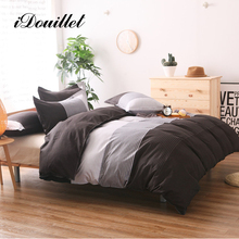 iDouillet Pinstripe Pattern Reversible Duvet Cover Set with Pillowcase 2 or 3 pcs Single Double Queen King Size Men's Bedding
