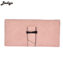 Fashion Women Solid Matte PU Leather Long Wallet Brief Purses Snap Buckle Pack Female Clutch Bags Bifold Multi-Card Purse