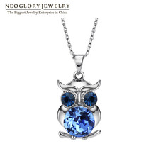 Neoglory Blue Austrian Crystals Owl Maxi Boho Long Chokers Necklaces & Pendants for Women Mother Girl Gifts Fashion Jewelry 2017(China)
