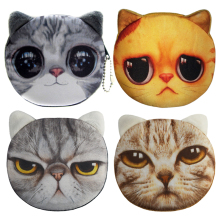 2017 New Cartoon Coin Wallet For Children 3D Cute Cat Face Coin Purse Female Money Storage Pouch Women Zipper Coin Bag(China)