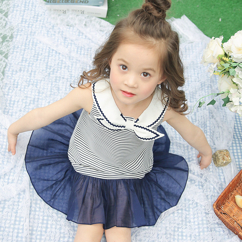 Girls Old Navy Dress Cute Cool Collar Navy Blue Striped Clothing Baby Toddler Sister Dresses Age56789 10 11 12 13 14Years Old(China)