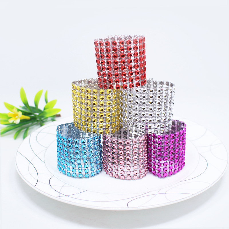 5pcs Silver Rhinestone Mesh Napkin Rings for Wedding Event Decoration Crystal Bling Napkin Holder Handmade Party Supplies 75Z