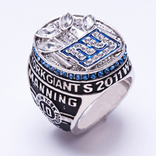 Wholesale 2011 New York Giants Super Bowl Zinc Alloy silver plated fashion Custom Sports Replica Men World Championship Ring(China)
