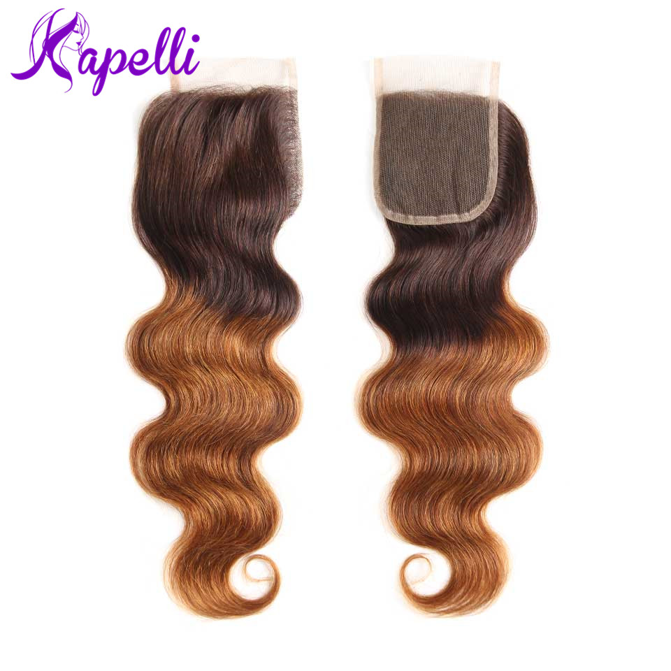 Pre-Colored Body Wave Peruvian Ombre Hair Lace Closure #1b430 Non-Remy Human Hair Bundles With 44 Lace Closure
