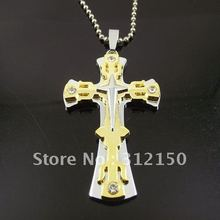 10pcs/lot Wholesale Free Shipping Stainless Steel Ball Chain Double Cross Pendant Star Big Cross Necklace Pendant Necklaces(China)