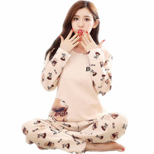 Brand Spring Autumn Long Sleeved Cotton Women's Pajamas Set Cartoon Sleepwear Girls Pyjamas Mujer Lady Casual Home Clothing 4XL(China)