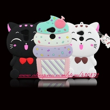 Cute 3D Soft Silicon Lucky Cat Cupcake Cartoon Cell Phone Back Skin Cover Case for Huawei Honor 6C / Enjoy 6S / Nova Smart
